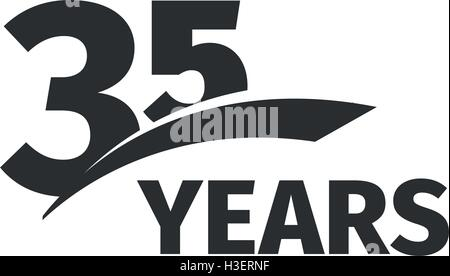 Isolated Abstract Black 35th Anniversary Logo On White Background