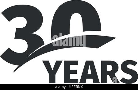 isolated abstract black 30th anniversary logo on white background