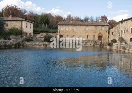 The ancient baths of Bagno Vignoni Tuscany - Stock Photo