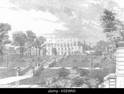 DERBYS Glossop Hall, seat of Duke of Norfolk 1852. Illustrated London News - Stock Photo