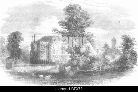 SOMERSET Brympton d'Evercy, near Yeovil, Somerset 1856. Illustrated London News - Stock Photo
