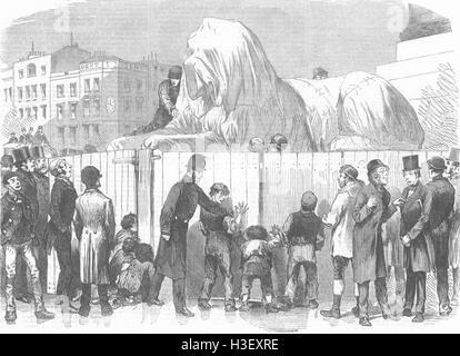 LONDON New Lion, Nelson's Column, Trafalgar-Square 1867. Illustrated London News - Stock Photo