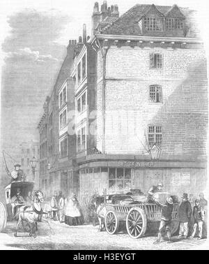LONDON houses nr St Dunstans Church, Fleet St 1859. Illustrated London News - Stock Photo