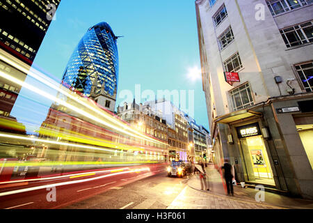 30 St Mary Axe,Gherkin,Swiss Re Building,City Of London,England at Dusk - Stock Photo