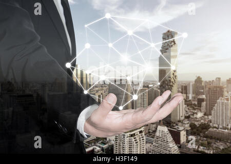 Businessman presenting connection network partnership and interaction. Connection network concept. - Stock Photo