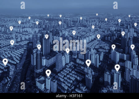Map pin flat of network connection in city. Network connection concept. - Stock Photo