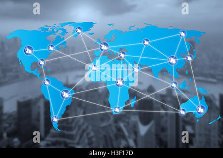 People network connection icons with World map connectionand blur city. Network work connections concept - Stock Photo