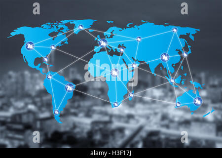 People network connection icons with World map connection and blur city. Network work connections concept - Stock Photo