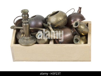 A variety of different junk items in a wooden crate - path included - Stock Photo