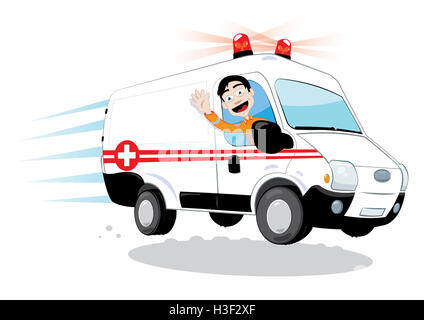 a vector cartoon representing a funny ambulance driver, hurrying and driving - Stock Photo