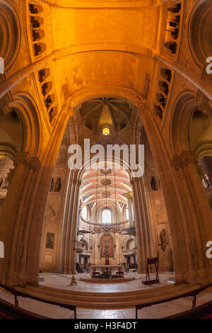 Interior fish eye view of Sé de Lisboa Cathedral or Patriarchal Cathedral of St. Mary Major, Lisbon, Portugal - Stock Photo