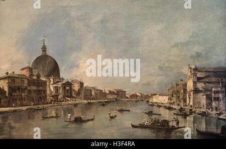 Francesco Lazzaro Guardi (1712-1793), View of Canal Grande with San Simeone Piccolo and Santa Lucia, ca. 1780. - Stock Photo