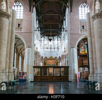 Church interior of Pieterskerk in old town of Leiden, South Holland, Netherlands - Stock Photo