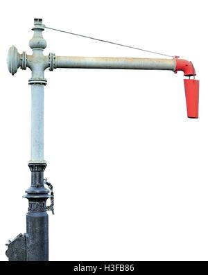 Steam Train Locomotive Engine Water Crane Column Standpipe Spout, Railroad Station Railway Tracks Watering Supply - Stock Photo