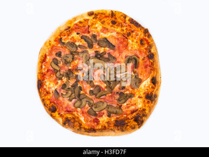 Original Italian Pizza Ham and Mushrooms isolated on white. The restaurant's menu. - Stock Photo