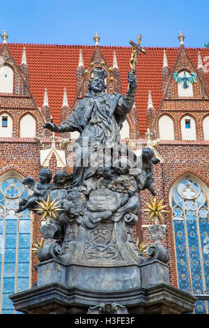 The monument of John of Nepomuk on Tumskoe island in Wroclaw - Stock Photo