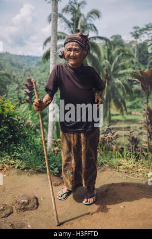 Full length portrait of smiling old woman standing with a stick. Senior female outdoors in countryside. - Stock Photo