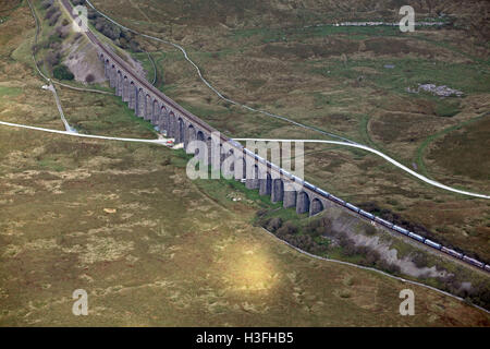 aerial view of the Ribblehead Viaduct for trains, a rail bridge in the Yorkshire Dales National Park, UK - Stock Photo