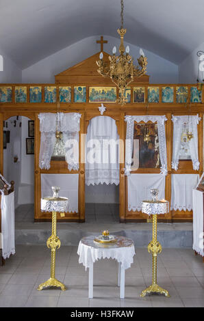 The interior of a small chapel, in Kythnos island, Greece - Stock Photo