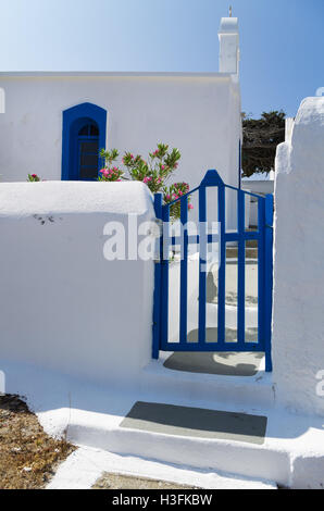 Small Orthodox church in Kythnos island, Cyclades, Greece - Stock Photo