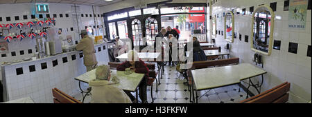 Inside Robins traditional Pie & Mash, Ilford Essex, Greater London, England panorama - Stock Photo