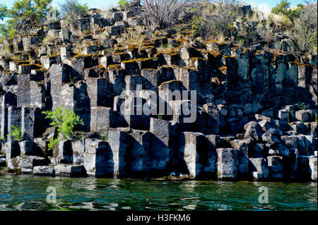 Columnar basalt along the Lower Salmon River in west-central Idaho - Stock Photo