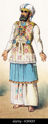 The figure illustrated represents an ancient Hebrew high priest in full dress. The illustration dates to 1882. - Stock Photo