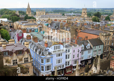 View of Oxford High Street and surrounding area as seen from the University Church of St Mary the Virgin, Oxford, - Stock Photo