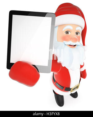 3d christmas people illustration. Santa Claus with a tablet blank screen. Isolated white background. - Stock Photo