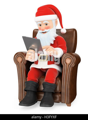 3d christmas people illustration. Santa Claus sitting on a sofa with a tablet. Isolated white background. - Stock Photo