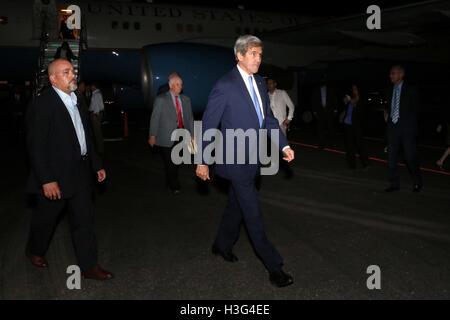 U.S. Secretary of State John Kerry arrives at Rafael Nuñez International Airport in Cartagena, Colombia on September - Stock Photo