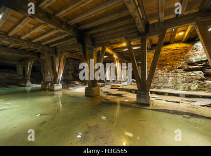 Cellars under the Roman Amphitheater in Trier, dating from around 100AD, Rhineland-Palatinate, Germany - Stock Photo