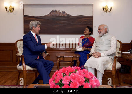 U.S. Secretary of State John Kerry meets with Indian Prime Minister Narendra Modi on August 31, 2016, at the Prime - Stock Photo