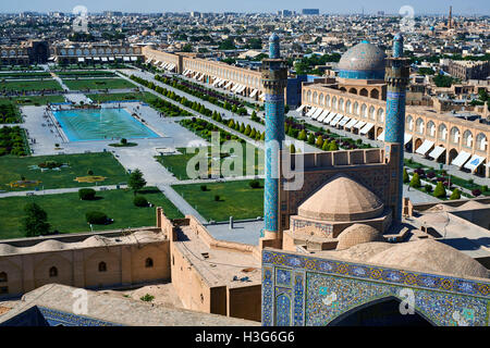 Iran, Isfahan, general view of the Imam Square, Jameh Mosque or Friday mosque, Sheikh Lotfollah mosque - Stock Photo