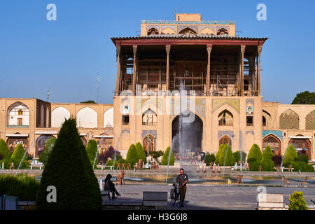 Iran, Isfahan, Imam Square, Ali Qapu Palace, world heritage of the UNESCO - Stock Photo