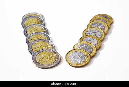 euros icon - save money - economy concept - Stock Photo