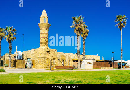The tiny mosque in Caesarea Maritima was built in the Middle Ages and nowadays it's the part of the open air  museum - Stock Photo