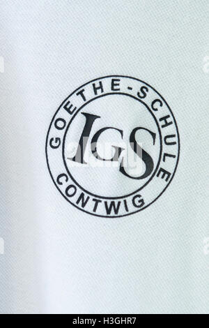 Contwig, Germany. 07th Oct, 2016. A polo shirt bearing the school's logo at the Integrierte Gesamtschule school - Stock Photo
