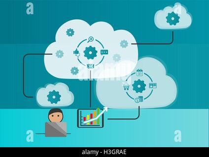 Cloud automation and internet of things concept as vector illustration - Stock Photo