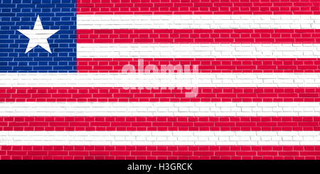 Liberian national official flag. African patriotic symbol, banner, element, background. Flag of Liberia on brick - Stock Photo
