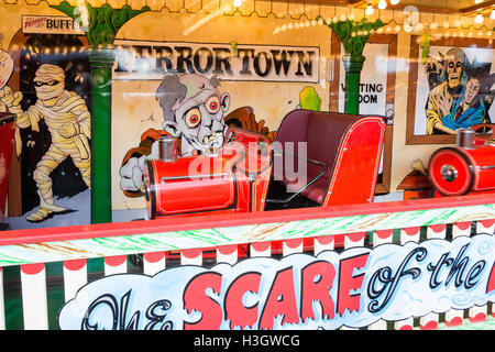 Ghost Train ride at Carters Steam Fair, The Green, Englefield Green, Surrey, England, United Kingdom - Stock Photo