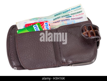 Wallet open with russian rubles bills and credit cards sticking out, isolated on white background - Stock Photo