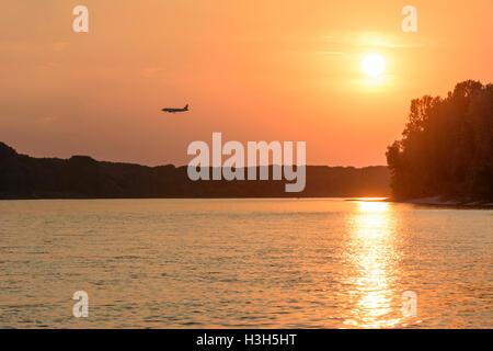 Nationalpark Donauauen, Danube-Auen National Park: aircraft plane over river Danube at landing in Vienna airport, Donau, Niederö Stock Photo