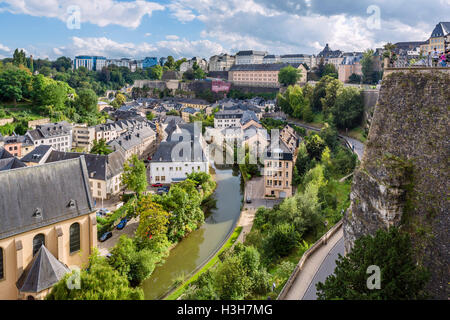 View from the Rue de la Corniche in the old town (La Vieille Ville), Luxembourg city, Luxembourg - Stock Photo