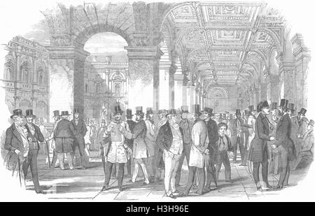 LONDON Merchants Walk, Royal Exchange 1847. Illustrated London News - Stock Photo