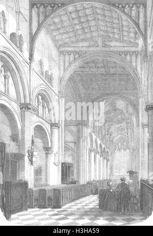 WILTS Salisbury Cathedral of Christ Church 1856. Illustrated London News - Stock Photo