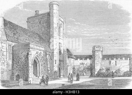HANTS Beaufort Tower, Winchester Cathedral 1859. Illustrated News of the World - Stock Photo