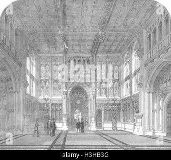HOUSES OF PARLIAMENT Westminster new Lobby Commons 1852. Illustrated London News - Stock Photo