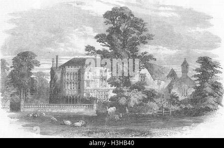 BRYMPTON D'EVERCY Church & Manor House, Yeovil, Somt 1856. Illustrated London News - Stock Photo