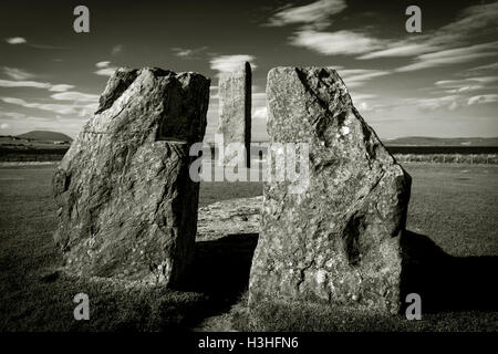 The Standing Stones of Stenness on Mainland, Orkney, Scotland, UK - Stock Photo
